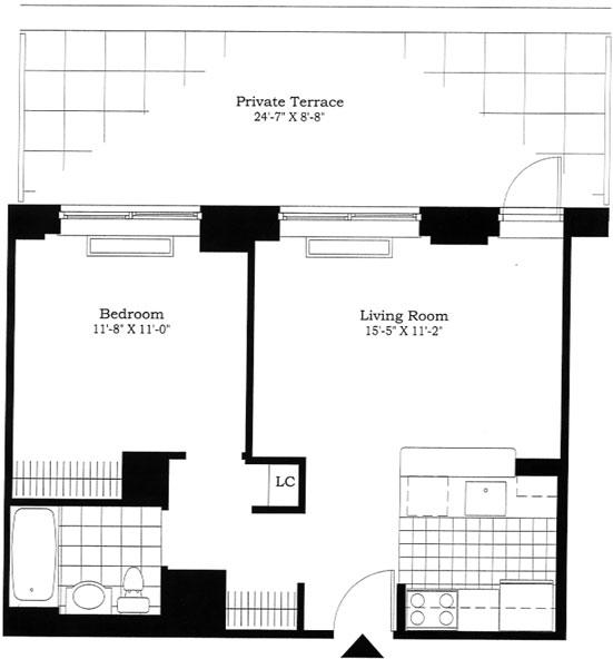 1 BR w/ Private Terrace